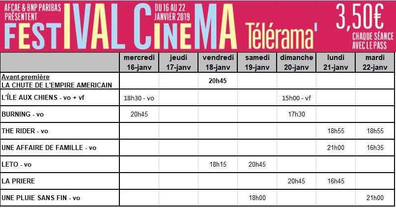 Programme du festival Télérama